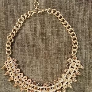 BCBG Jewelry - BCBG Bib Necklace Gold Spikes Glam Holiday BLing